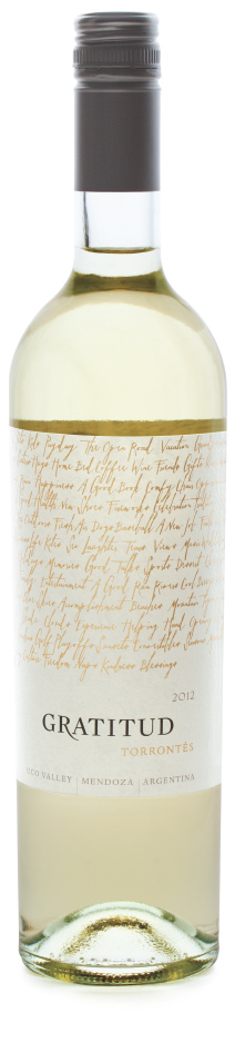 Picture of bottle of Gratitud Torrontes wine